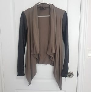 Daniel Leather cascading cardigan with leather